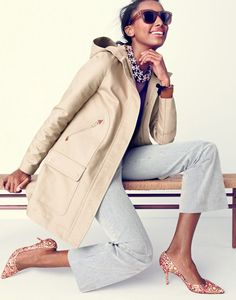 J.Crew women's chateau jacket in water-resistant cotton, Collection cashmere long-sleeve T-shirt, Teddie sailor pant in skinny stripe, Betty sunglasses, crystal floral necklace and Colette d'Orsay pumps in glitter mosaic.