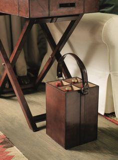 leather home accessories A bottle carry is perfect for the host or hostess with everything, helping them to transport drinks in style Leather Accessories, Leather Jewelry, Home Accessories, Sewing Leather, Leather Craft, Wine Carrier, Bottle Holders, Reusable Bags, Classic House