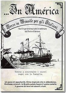 """Panfleto estimulando a imigração para o Brasil. Lê-se """"Na América. Terras no…"""