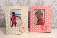 Embellish cheap wood frames with scrapbook paper, mod podge and some flowers.