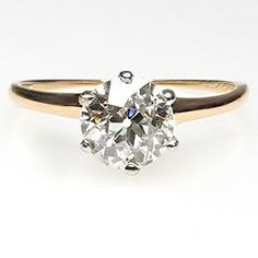 ANTIQUE ENGAGEMENT RING OLD EUROPEAN CUT DIAMOND SOLITAIRE SOLID 14K GOLD