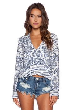 Blue Life Long Sleeve Hayley Top in Vintage Scarf Print from REVOLVEcloth