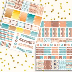 October Printable Planner Stickers -  http://etsy.me/2ci5nty Teal and brown aztec planner stickers. Perfect for create handmade planners, stationery, greeting cards, craft items and much more.
