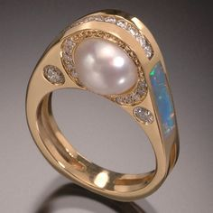 RANDY POLK DESIGNS - gold ring with unique pearl & gemstones design