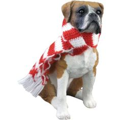 Sandicast Fawn Boxer with Red and White Scarf Christmas Ornament ** You can find more details by visiting the image link.