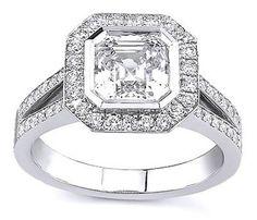 18K White Gold Asscher Cut Diamond, 0.95 ctw Diamond, Rings Size:3 14, High Polish Finish,New Arrivial