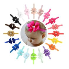 """20pcs/Lot 3"""" Grosgrain Silver Ribbon Hair Bow Headbands Accessories Hairband Flower for Baby Girl Toddlers Kids Children"""