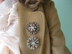 vintage rhinestone brooches / 1940s jewelry / by jeanjeanvintage, $38.00