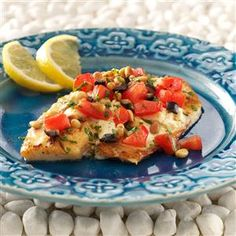 Greek Tilapia Recipe -While on a trip through the Greek islands, my husband and I had a dish that we loved. I tried to duplicate it by combining several different recipes and came up with this. —Sally Burrell, Idaho Falls, Idaho