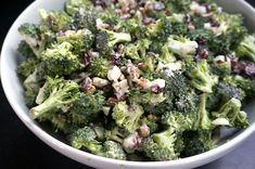 Broccoli salad with Greek yogurt, cranberries and almonds: made this dressing today...really yummy and you don't have to feel bad about seconds!