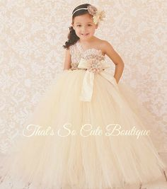 Champagne Ivory and Lace Flower Girl Tutu Dress-champagne, ivory, lace, tan, burlap, rustic, tutu dress, flower girl, vintage, country, brown