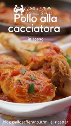 Pollo alla cacciatora in rosso una ricetta che in famiglia la prapariamo spesso perché è molto veloce e buona. Cacciatore, Meat Dish, Dishes, Chicken, Casseroles, Recipes, Diet, Lavender, Casserole Dishes