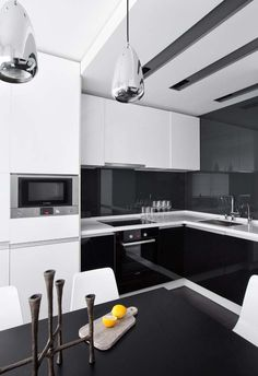 by Design (I would change the white cupboards over the stove to black! Home Decor Kitchen, Kitchen Furniture, Home Kitchens, Kitchen Dining, White Cupboards, Contemporary Apartment, Decor Interior Design, Sweet Home, House Design