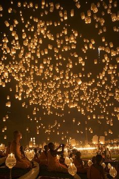 Floating lanterns, Thailand.,