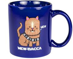 Combine the superior power of a Wookie with the cute cuddliness of a cat and you have Mew-Bacca, the cat who can rip a droid's arm out of its socket if it gets mad. This MEW-BACCA Mug is the perfect coffee mug for Star Wars fans and cat lovers. It will hold your favorite space brew and a