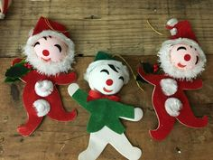 Vintage Flocked Paper Chenille Santa Elf Christmas Ornaments #Christmas