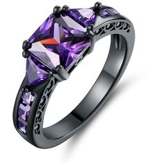 Barzel Black Rhodium Princess-Shape Cubic Zirconia Ring ($13) ❤ liked on Polyvore featuring jewelry, rings, jewelry & watches, purple, princess cut engagement rings, cz engagement rings, cz cocktail rings, statement rings and black rhodium rings