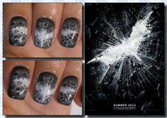 batman-nails - omg i always shake my head at the nail pins because never in a million years could i do that or even attempt, but this....this is BADASS