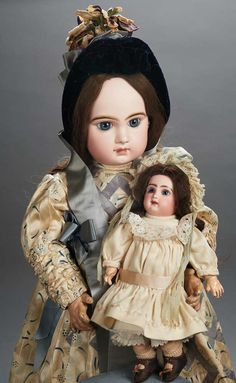 """View Catalog Item - Theriault's Antique Doll Auctions Gorgeous French Bisque Bebe Jumeau with Original Couturier Costume and Signed Shoes 27"""" (69 cm.)"""