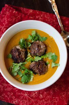 Roasted Kabocha Squash, Carrot & Ginger Soup With Lamb Meatballs   soletshangout.com #glutenfree #paleo #primal #aip #fall #autoimmune #soup #squash #meatballs