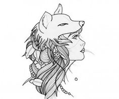 """Girl Wolf Tattoo ~ I'm thinking my first tattoo will be something like this with the quote """"With a spirit as fierce as a wolf she will conquer the world"""""""