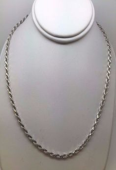 """SOLID 10K WHITE GOLD ROPE 3 MM 24"""" CHAIN NECKLACE 17.2 GRAMS LOBSTER CLASP"""