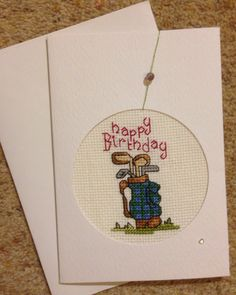 Cross stitched golf towel crafts n things craft ideas magazine i made this golf birthday card bookmarktalkfo Choice Image