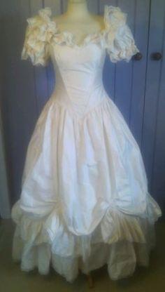 VINTAGE 80s WEDDING DRESS ELLIS 100% SILK FULL SKIRT w TRAIN EXCELLENT CONDITION