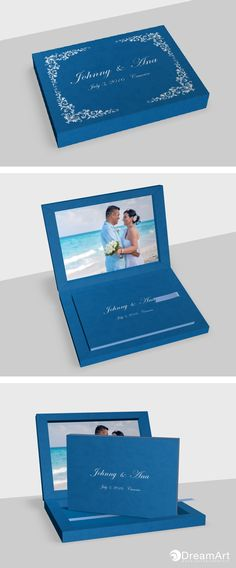 Ana & Johnny Young Book. DreamArt Photography example of a @graphistudio #DreamArtPhotography #DreamArtWedding #WeddingBook #GraphiStudio #YoungBook - Book Size 30x 20 cm. 30 pages. Ribbon Sky Blue. Box Cloud Leatherette Blue. Book Cover Cloud Leatherette Blue. Inside Box Photographic paper.