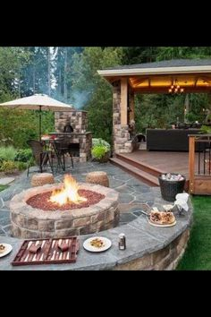 Outside fireplace idea