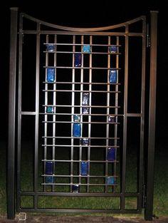 Custom Gate with Recycled Glass Tile by MOD Studio www.modstudionw.com