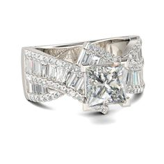Jeulia Vintage Princess Cut Sterling Silver Ring