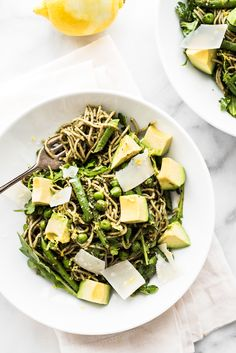 Healthy and filling - this Soba Noodle Salad with Walnut Pesto is an easy way to get a good dose of greens in a delicious way!
