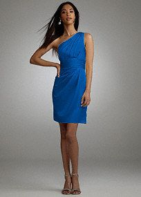 This one shoulder satin dress is modern and chic, perfect the fashion-forward bridesmaid.  One shoulder bodice is on trend and pleated detail adds a fresh update.  Ruched waistis flattering on any figure.  Slim skirt features draping detail for added dimension.  Fully lined. Back zip. Imported polyester. Hand wash or dry clean.