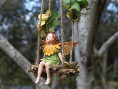 Fairy Swing by Olive* ~ Flora Swing with Fairy (Marigold Fairy Included) Handmade Faerie Swing, Fae Swing, Faerie, Fairy Accessories