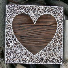 Heart silhouette string art