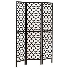 Monarch Black Honeycomb 3-Panel Screen Room Divider found on Polyvore featuring home, home decor, panel screens, black, black home decor, folding room dividers, honeycomb screen and folding screens