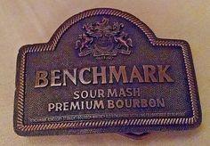 BENCHMARK SOUR MASH BOURBON BELT BUCKLE INDIANA METAL CRAFT GOLD METAL USED #IndianaMetalCraft #Novelty