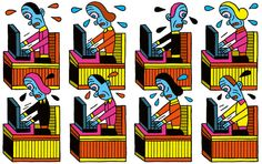 """Life in the new tech workplace is suspiciously like life in the old sweatshop. Silicon Valley's """"new"""" way of working is the oldest game in the world: the exploitation of labor by capital. Read """"Congratulations, You're Fired!"""" from NYT Opinion. (Illustration: Henning Wagenbreth)"""