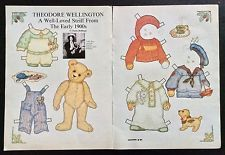 Theodore Wellington Teddy Bear Paper Doll, 1985, By Susan Hoffman, Mag. PD