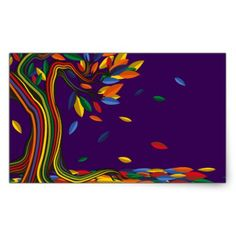 Colorful rainbow tree with bright colors rectangular sticker - craft supplies diy custom design supply special