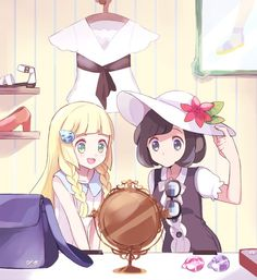 Lillie and Moon trying on hats