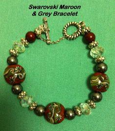 Swarovski Maroon and Grey Pearl Bracelet