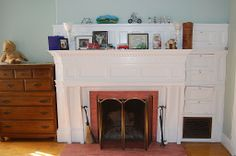 fireplace built-in drawers