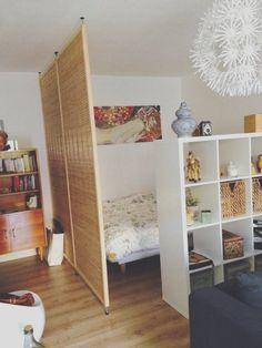 Studio Apartment Layout, Studio Apartment Decorating, Apartment Design, Studio Apartment Partition, One Room Apartment, Apartment Interior, Apartment Ideas, Bedroom Divider, Ikea Room Divider
