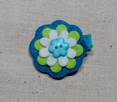Turquoise and Lime Felt Hair Clip with Button by LittleBittyBeans, $4.25