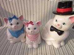 Vintage Cookie Jar Persian Cat Family Cookie Jars by PriorMemories, $275.00