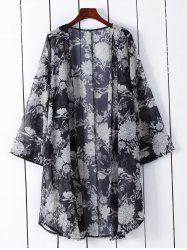 Floral Print Loose-Fitting Kimono Blouse