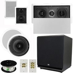 "5.1 Home Theater 4 Speaker Set with Center, 15"" Powered Sub and More TS5W6CL51SET9 by Theater Solutions. $393.99. Specifications2 TS50W In Ceiling/Wall Speakers5.25"" Woven Kevlar Driver with 50-20,000 Hz Range200 Watts RMS and 400 Watts Max per pair92dB SensitivityCut Out Size is 9.5"" x 6""Overall Measurement is 11"" x 7.5""Mounting Depth is 2.25""2 TS65C In Ceiling/Wall Speakers6.5"" Woven Kevlar Driver with 32-20,000 Hz Range200 Watts RMS and 400 Watts Max per pair92..."