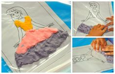 play dough play ziplocks bag picture (letters, numbers, princess, house, dog..) kids dress them with play dough over the top!